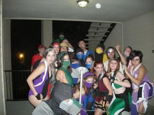 I'm far right in purple. He's got the red headband, on the right.